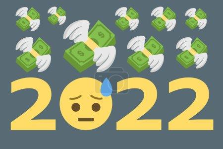 Illustration pour Emoji visage de sueur froide avec argent volant, concept année 2022, illustration vectorielle - image libre de droit