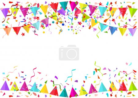 Vector background of falling tiny confetti pieces and colored pe