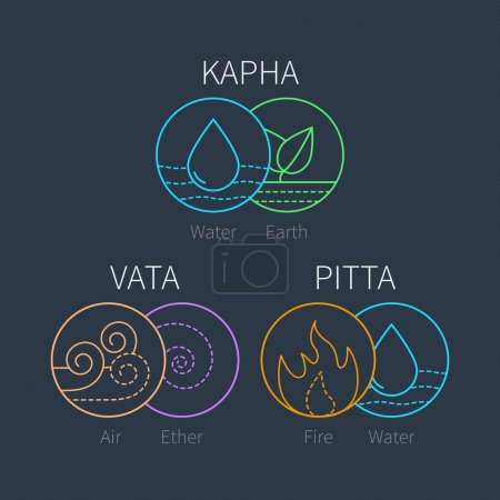 Illustration for Ayurveda vector elements and doshas icons. Vata, pitta, kapha doshas. Ayurvedic body types. Template for ayurvedic infographic and web site, doshas symbols. Alternative medicine - Royalty Free Image