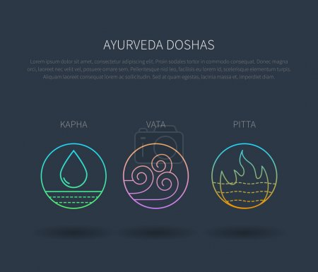 Illustration for Ayurveda doshas vector thin icons isolated on dark. Ayurvedic body types vata dosha, pitta dosha, kapha dosha. Infographic with flat linear icons. Alternative ayurvedic medicine poster template. - Royalty Free Image