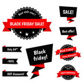 Black Friday Sale vector badges with ribbons ribbons and speech bubbles for your design For sales promotion and advertising