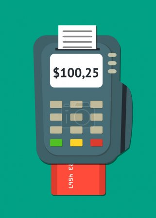 Illustration for Simple flat POS terminal with credit card icon. Vector illustration. - Royalty Free Image