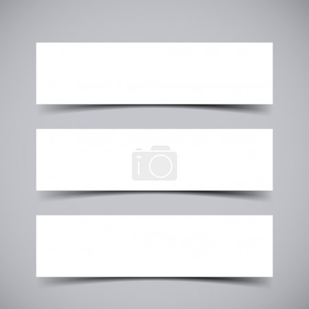 Illustration for Vector set of three empty Banners with transparent vector shadows. Vector template, mock up - Royalty Free Image