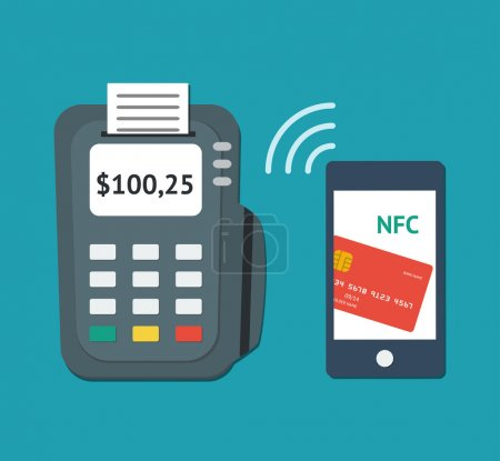 Illustration for NFC technology concept. Flat illustration of smartphone with credit card on its screen and POS-terminal, processing of mobile payments. Vector illustration isolated on white background - Royalty Free Image