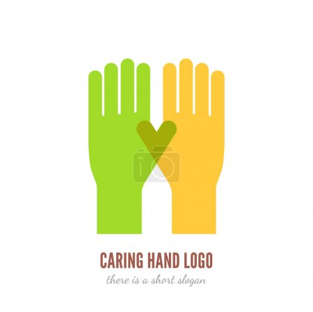 Illustration for Vector illustration of two hands logo template. Help, care, assistant concept icon - Royalty Free Image