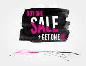 Vector Half price sale watercolor banner with splashes of ink