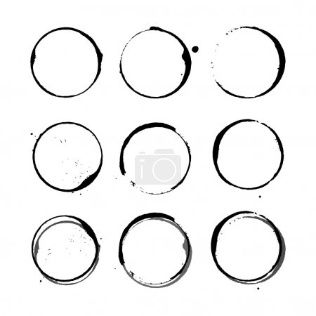Illustration for Vector set of Black silhouette Wine stain circles, splashes and spot isolated on white background. Watercolor hand drawing glass marks - Royalty Free Image