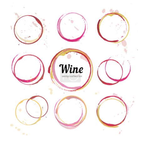 Illustration for Vector set of Wine stain circles, splashes and spot isolated on white background. Watercolor hand drawing glass marks for bar wine list - Royalty Free Image