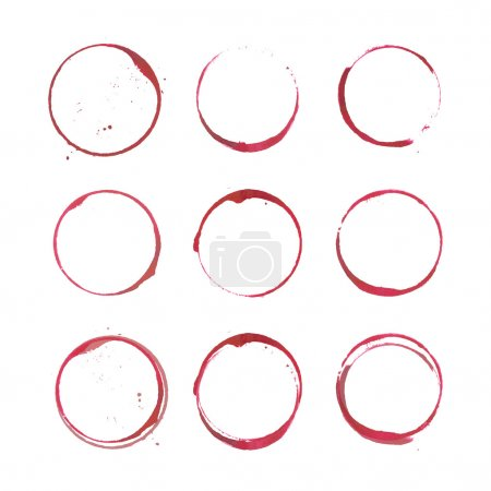 Illustration for Vector set of Wine stain circles silhouette, splashes and spot isolated on white background. Watercolor hand drawing glass marks - Royalty Free Image