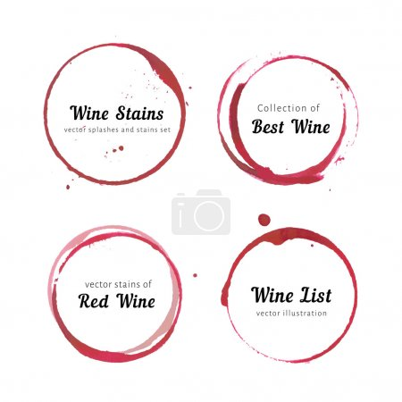 Illustration for Vector set of Wine stain circles, splashes and spot isolated on white background for logo design. Watercolor hand drawing glass marks - Royalty Free Image