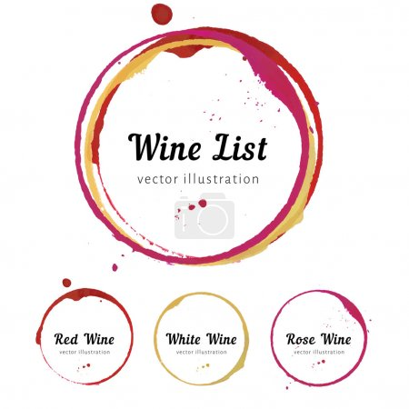 Illustration for Vector set of Wine stain circles, splashes and spot isolated on white background for wine card, list, menu. Watercolor hand drawing glass marks - Royalty Free Image
