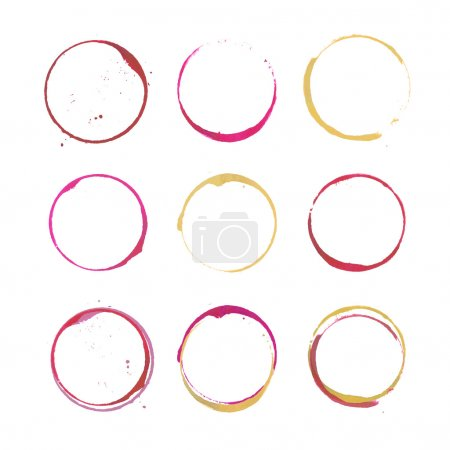Illustration for Vector set of rose, red and white Wine stain circles, splashes and spot isolated on white background. Watercolor hand drawing glass marks - Royalty Free Image