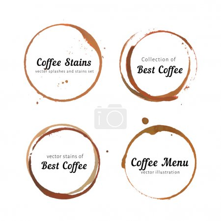 Illustration for Vector set of coffee stain logo. Circles, splashes and spot isolated on white background with space for your text. Watercolor hand drawing cup marks - Royalty Free Image