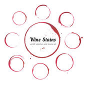 Vector set of Wine stain circles splashes and spot isolated on white paper background for your design Watercolor hand drawing glass marks
