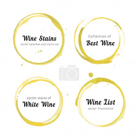 Illustration for Vector set of white Wine stain circles, splashes and spot isolated on white background. Watercolor hand drawing glass marks - Royalty Free Image