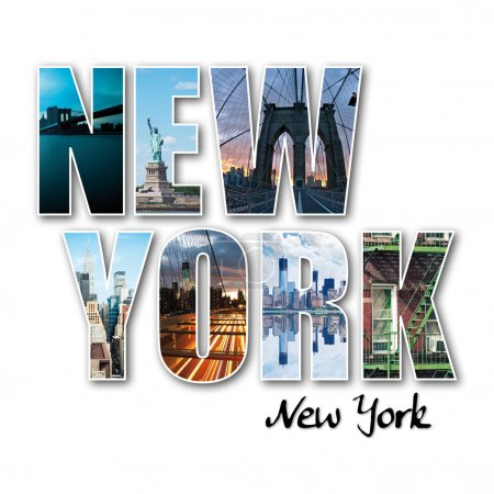 Photo for New York collage of different famous locations of the Big Apple. - Royalty Free Image
