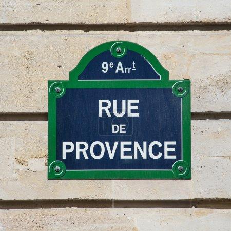 Photo pour Plaque de rue de Rue de Provence. Paris, France . - image libre de droit