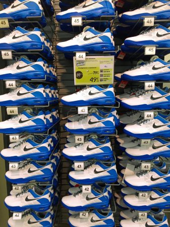 Photo for BOLOGNA, ITALY - NOVEMBER 19: Nike shoes inside Decathlon Sport Store on November 19 in Italy. Decathlon is the largest sporting goods reseller, founded in 1976. - Royalty Free Image