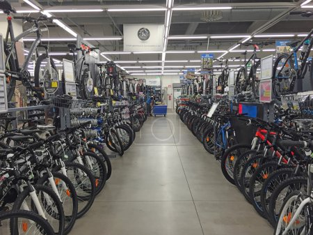 Photo for BOLOGNA, ITALY - NOVEMBER 19: Bicycles inside Decathlon Sport Store on November 19 in Italy. Decathlon is the largest sporting goods reseller, founded in 1976. - Royalty Free Image