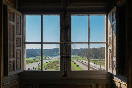 View of garden from window inside Vaux le Vicomte Castle