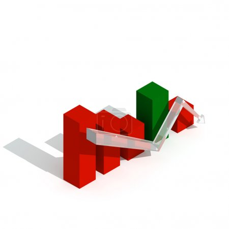 Photo pour Graphique d'affaires et graphique vers le bas Trand Visualisation 3D - image libre de droit