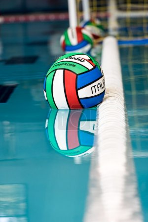 water polo balls on swimming pool