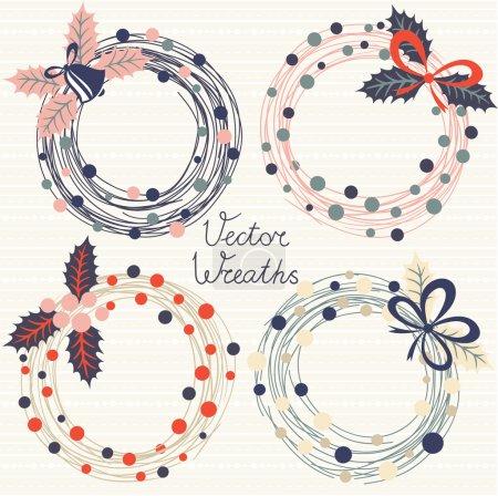 Festive wreaths. Vector set