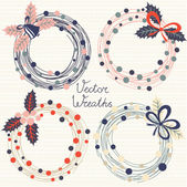 Festive wreaths Vector set