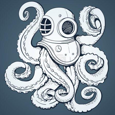 Octopus. Vector background