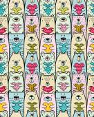 Bears with hearts Vector seamless pattern