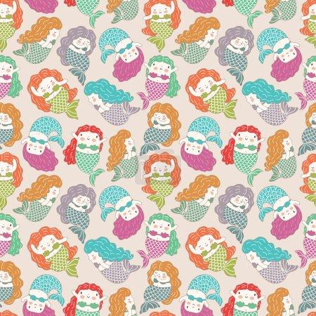Photo pour Petites sirènes motif sans couture. Fond vectoriel - image libre de droit