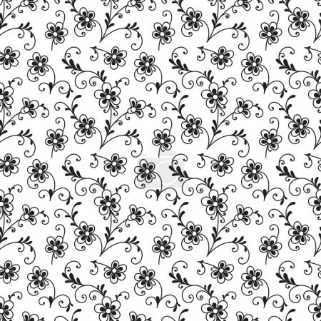 Illustration for Black and white floral ornament, seamless pattern of small flowers - Royalty Free Image