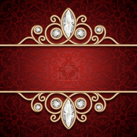 Illustration for Vintage gold frame, ornamental jewelry background - Royalty Free Image