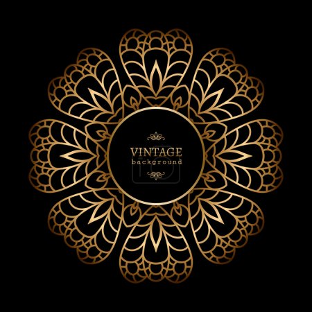 Illustration for Vintage gold circle frame on black background - Royalty Free Image