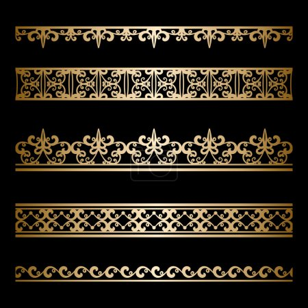 Illustration for Set of vintage gold borders, ornamental lines isolated on black - Royalty Free Image