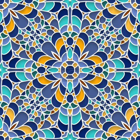 Illustration for Abstract mosaic background, ceramic tiles, majolica, seamless pattern - Royalty Free Image