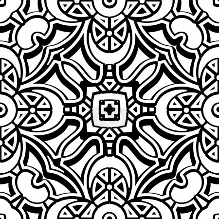 Illustration for Black and white background, vintage lattce ornament, seamless pattern - Royalty Free Image