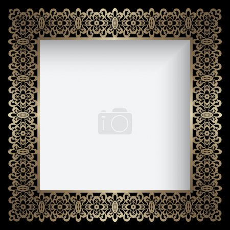 Square gold lace frame