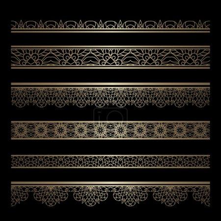 Illustration for Set of vintage gold borders, decorative lace ribbons, ornamental lines on black - Royalty Free Image
