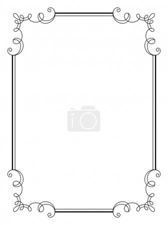 Vintage calligraphic rectangle frame with swirls