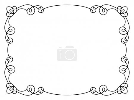 Illustration for Calligraphic rectangle frame, simple frame ornament, decorative design element in retro style, certificate or invitation template on white - Royalty Free Image
