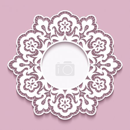 Lace doily, round cutout paper frame template,