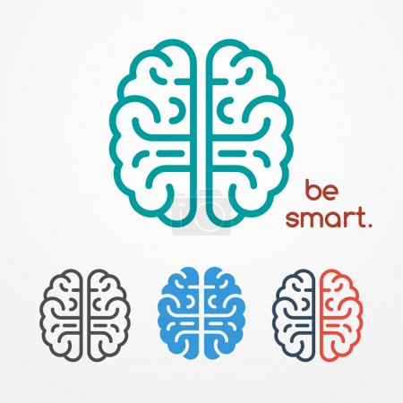Illustration for Abstract flat looking human brain logo set in different colors - Royalty Free Image