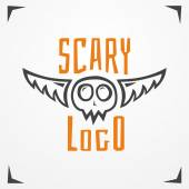 Funny cartoon logo - simplistic grungy skull with wings and sample text