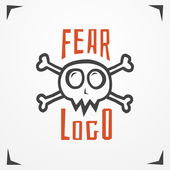 Funny cartoon logo - simplistic grungy skull with bones and sample text