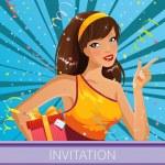 Happy girl celebrating- invitation illustration...