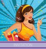 Happy girl celebrating- invitation illustration