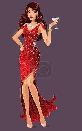 Illustration pour Belle dame en robe rouge avec martini - image libre de droit