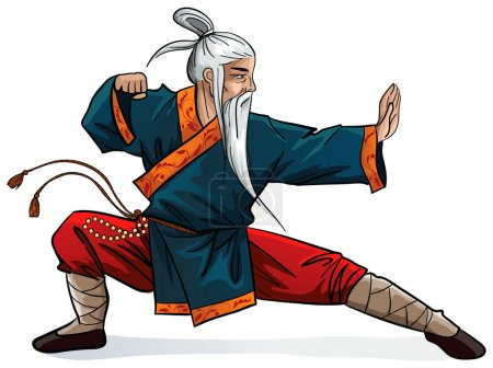 Fighting old warrior on white background...
