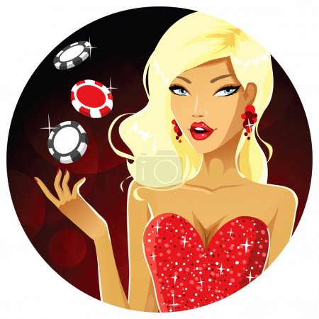Girl with casino tokens